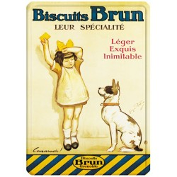 Plaque métal - Fille et chien - Biscuits Brun