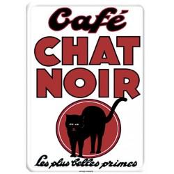 Plaque métal - Chat noir - Café Chat noir