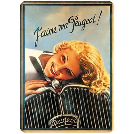 Plaque métal - J'aime ma Peugeot - Peugeot