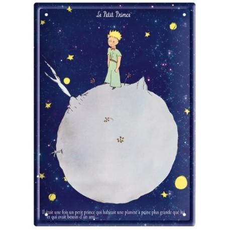 Plaque métal - Planète fond bleu - Le Petit Prince