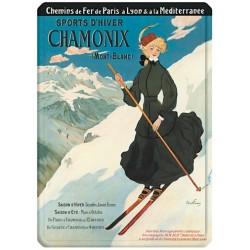 Plaque métal 15x21 - La skieuse Chamonix