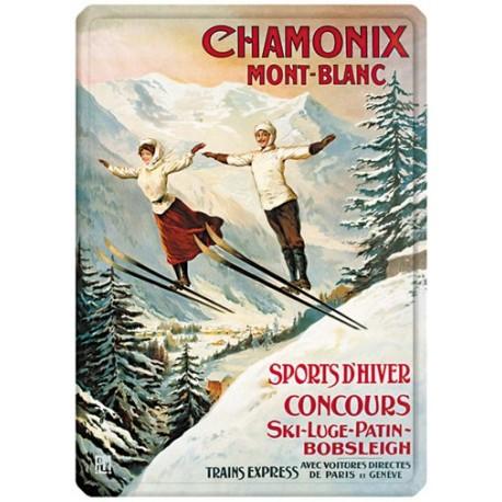 Plaque métal 15x21 - Chamonix - Les deux sauteurs