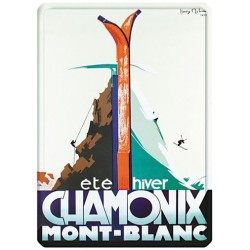 Plaque métal 15x21 - Eté hiver - Chamonix