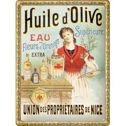 Plaque métal - Huile d'olive tête nue - Union des propriétaires de Nice