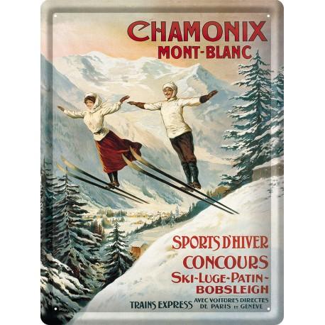 Plaque métal - Chamonix - Les deux sauteurs - PLM