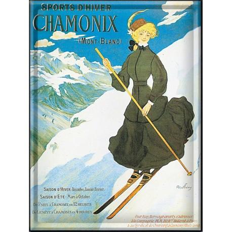 Plaque métal - Chamonix - La skieuse - PLM