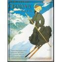Plaque métal 30x40 - Chamonix - La skieuse