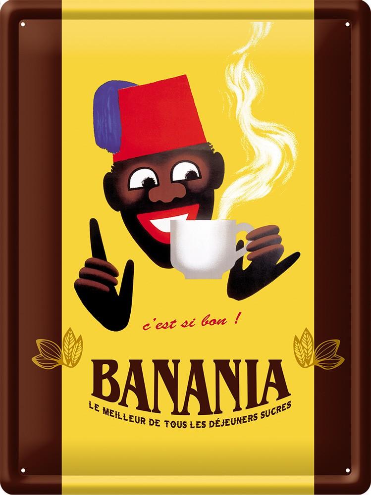 ⛔#Plaque# #tôle# Métal 15x21 déjeuner #Publicitaire# chocolat cacao #BANANIA#