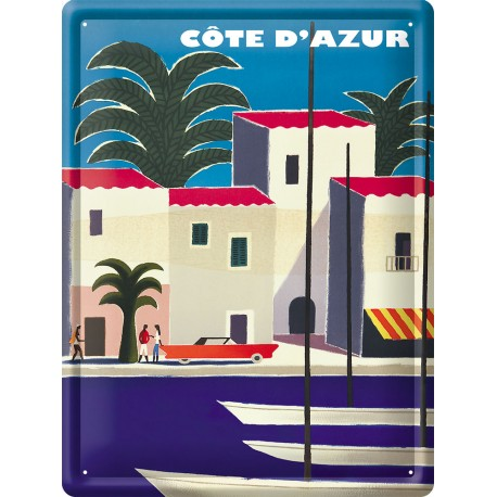Plaque métal - Côte d'Azur - Port