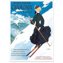 Affiche - Chamonix - La skieuse - PLM