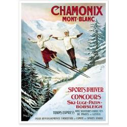 Affiche - Chamonix - Les deux sauteurs - PLM