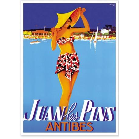Affiche - Juan-les-Pins - La baigneuse - PLM