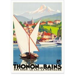Affiche - Thonon - Vue du Lac Léman