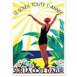 Affiche - Côte d'Azur Soleil toute l'année