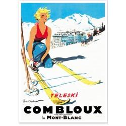 Affiche - Combloux La skieuse blonde