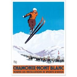 Affiche - Chamonix Sauteur à ski