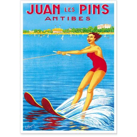 Affiche - Ski nautique à Juan-les-Pins - PLM