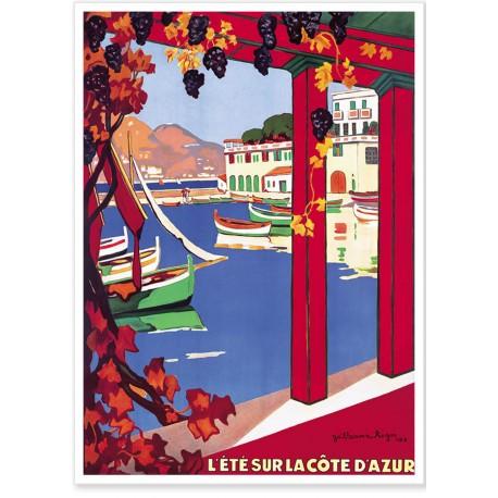 Affiche - Côte d'Azur - Port - PLM