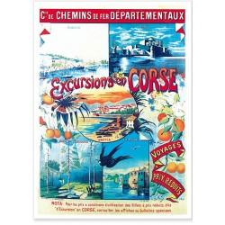Affiche - Excursions en Corse - Chemins de fer départementaux