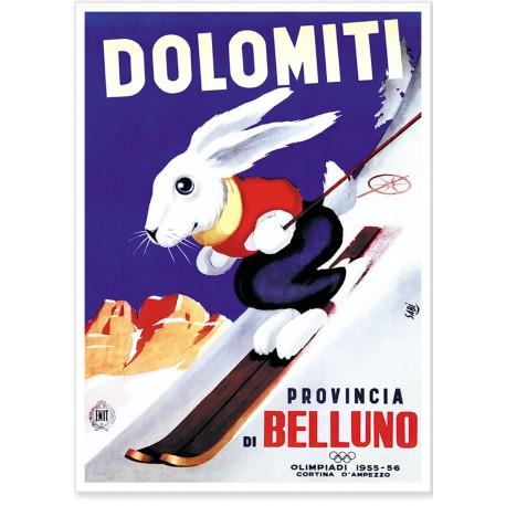 Affiche - Le lapin skieur - Jeux Olympiques de Cortina d'Ampezzo
