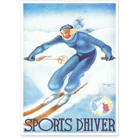 Affiche - Alpes - Skieur - PLM