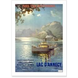 Affiche - Le lac d'Annecy de nuit - PLM