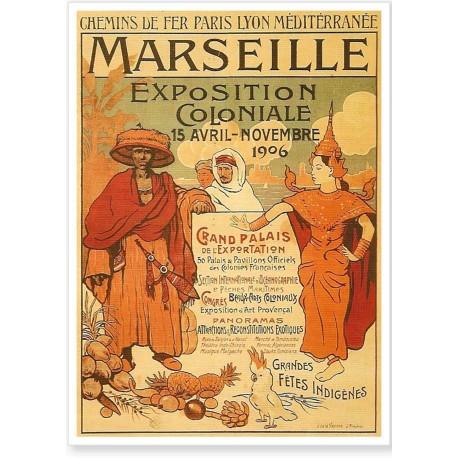 Affiche - Exposition coloniale de 1906 - Marseille - PLM