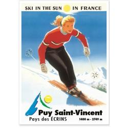 Affiche - Skieuse Puy Saint Vincent