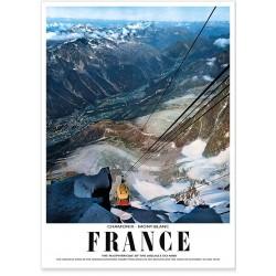 Affiche - Vue du téléphérique de l'Aiguille du Midi