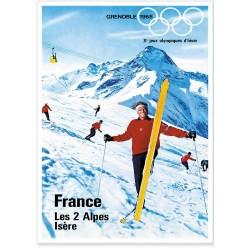 Affiche - JO de 1968 aux Deux Alpes
