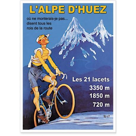 Affiche - L'Alpe d'Huez - Le grimpeur - Ville de l'Alpe d'Huez