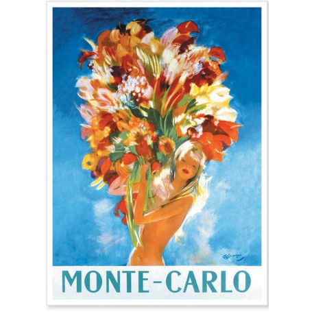 Affiche - Pin-up au bouquet - Ville de Monte-Carlo