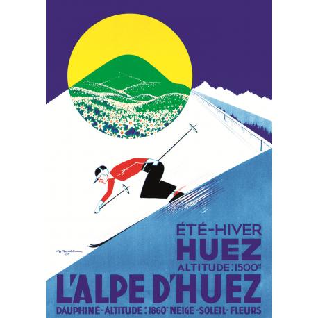 Affiche 50x70 - L'Alpe d'Huez Été Hiver