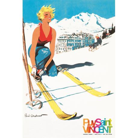 Affiche 50x70 - Puy Saint Vincent blonde combloux