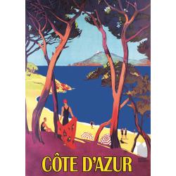 Affiche 50x70 - Bord de mer Côte d'Azur