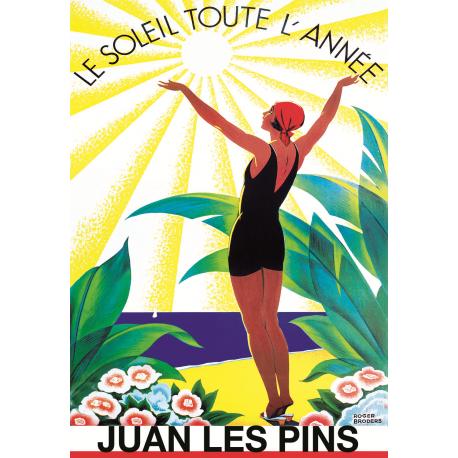 Affiche 50x70 - Soleil toute l'année à Juan les Pins