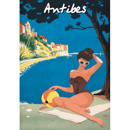 Affiche 50x70 - Bronzer à Antibes