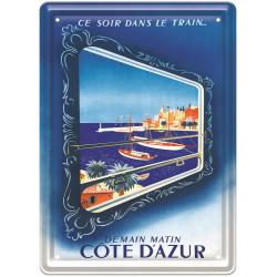 Plaque métal 15x21 - Côte d'Azur Vue du Train (fin de série)