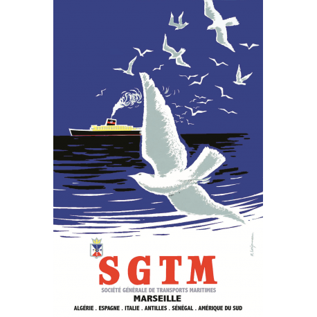 Affiche 50x70 - Oiseaux et Paquebot SGTM à Marseille
