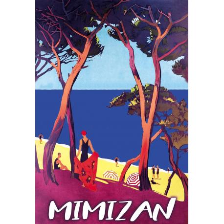 Affiche 50x70 - Plage sur l'Océan à Mimizan