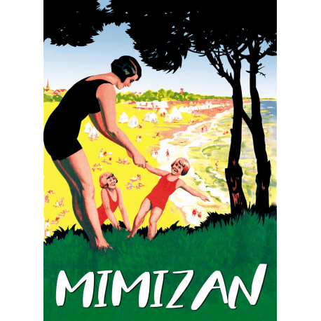 Affiche 50x70 - Vacances en famille à Mimizan