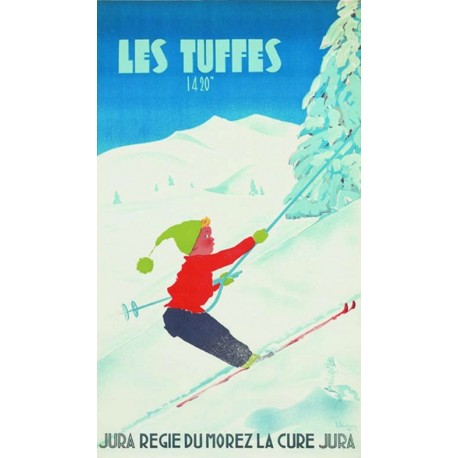Affiche - Les Tuffes - Remontée mécanique (fin de série) - Chemins de fer de Morez-La Cure
