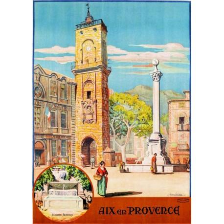Affiche - Aix-en-Provence - Place de l'Hôtel-de-Ville (fin de série) - PLM
