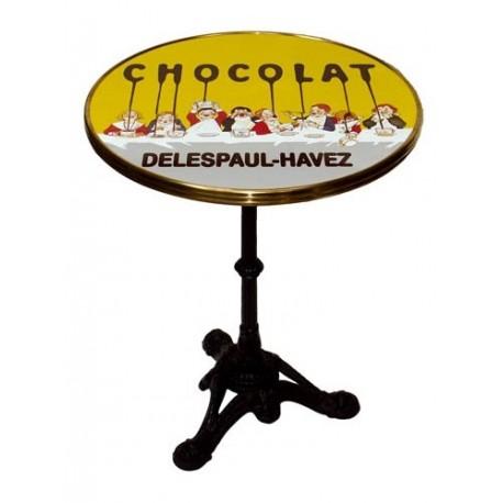 Table de bistrot émaillée - Tablée d'enfants - Chocolat Delespaul-Havez